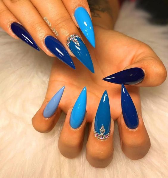 Unhas Decoradas Azuis Azul