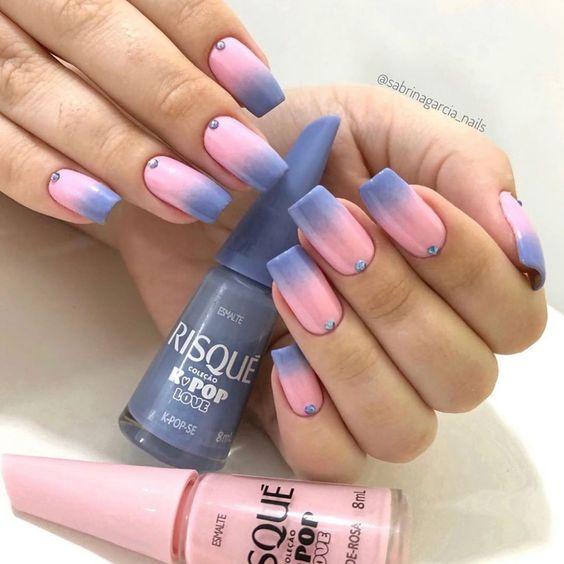 Unhas Decoradas Azuis E rosa
