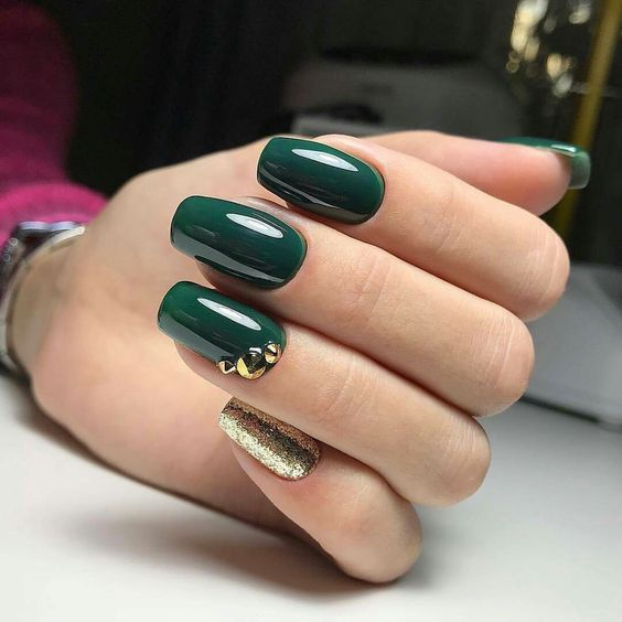 Unhas Decoradas Verde Escuro