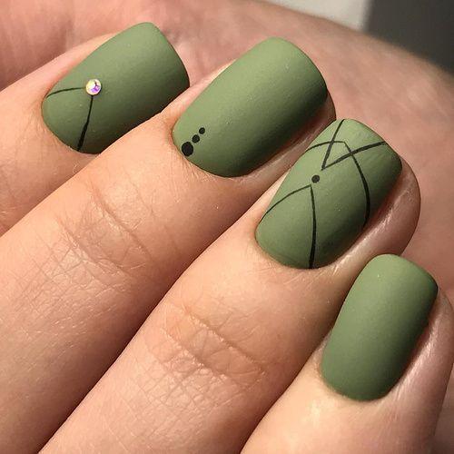 Unhas Decoradas Verde Musgo