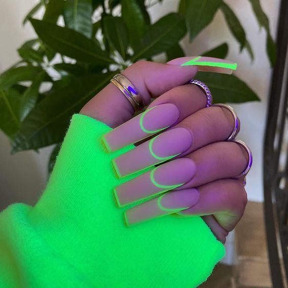Unhas Decoradas Verde Neon