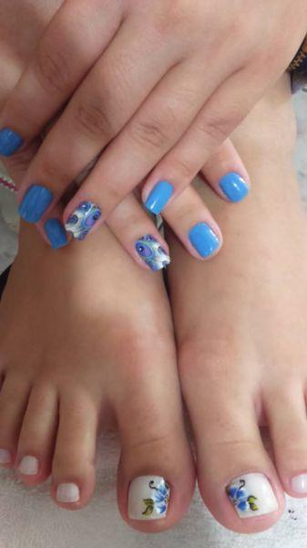 Unhas pé e mão Flores