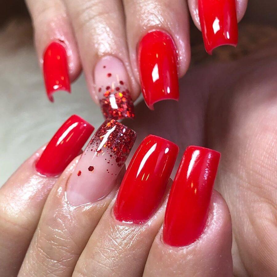 Unhas decoradas de vidro Vermelho