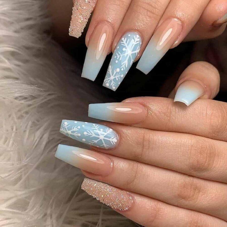 Unhas decoradas de vidro Com glitter